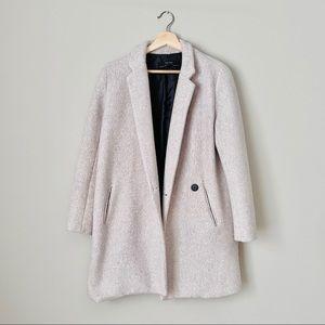 {Zara} Taupe Coat with Lapel Collar